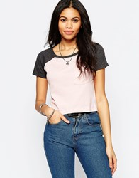 Brave Soul Cropped T Shirt With Contrast Sleeve And Front Pocket Baby Pink Charcoal