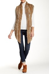 Bagatelle Genuine Rabbit Fur Trim Knit Vest Beige