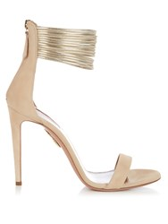 Aquazzura Spin Me Around Suede Sandals Nude