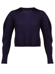 Isabel Marant Swinton Balloon Sleeve Cashmere Sweater Navy