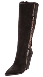 Ash Joyce Leopard Inset Wedge Boots Black Smog