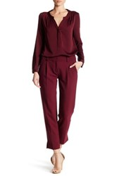 Milly Nicole Pleat Crepe Ankle Pant Red