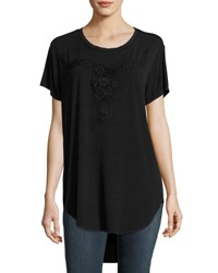Haute Hippie Lace Longhorn Stretch Jersey Tee Black