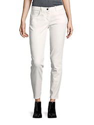 Max Studio Cropped White Denim Jeans Cream