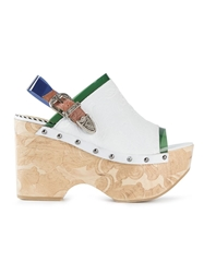 Toga Pulla Engraved Platform Sandals White