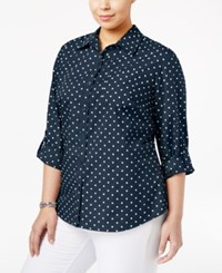Karen Scott Plus Size Polka Dot Shirt Only At Macy's Intrepid Blue Combo