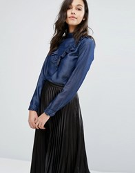 Miss Selfridge Chambray Ruffle Blouse Denim Blue