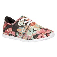 Lotus Meadow Floral Print Lace Up Trainers Black