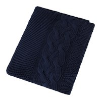 Amara Knitted Cable Throw Navy