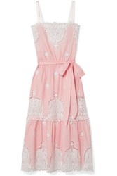 Miguelina Esme Crocheted Cotton Voile Midi Dress Baby Pink
