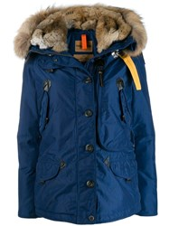 Parajumpers Fur Trimmed Padded Coat Blue