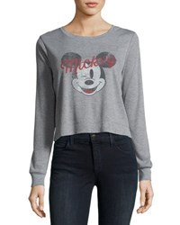 David Lerner Mickey Mouse Long Sleeve Ribbed Graphic Tee Gray