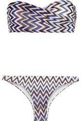 Missoni Mare Metallic Crochet Knit Bandeau Bikini Purple