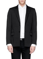 Givenchy Faux Leather Band Cotton Blazer Black