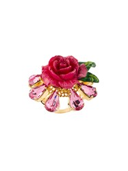 Dolce And Gabbana Crystal Rose Ring Pink And Purple