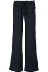 Figue Woman Simone Fringed Crepe Wide Leg Pants Midnight Blue