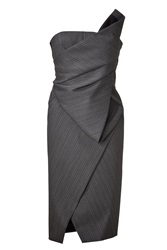 Donna Karan New York Anthracite Structured Origami Bustier Dress Grey