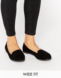 New Look Wide Fit Metal Detail Slip On Loafer Black