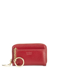 Tusk Madison Leather Zip Card Case Red