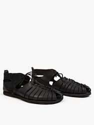Officine Creative Black Leather Artisan Sandals
