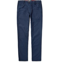 Incotex Slim Fit Slub Cotton Trousers Navy