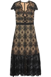 Catherine Deane Garland Guipure Lace Midi Dress Black