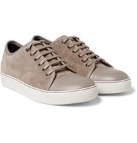 Lanvin Cap Toe Suede And Leather Sneakers Beige