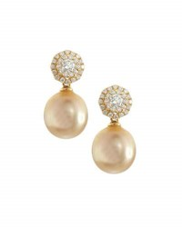 Belpearl 18K Floral Diamond And Golden South Sea Pearl Drop Earrings