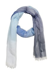 Stefanel Jacquard Scarf With Ginkgo Fabric Blue