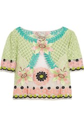 Temperley London Belle Cropped Embroidered Tulle Top Mint