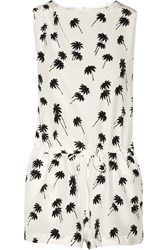 Band Of Outsiders Printed Silk Crepe Playsuit White