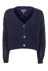 Topshop Cropped Fisherman Cardigan Navy Blue