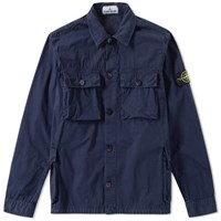Stone Island Garment Dyed Four Pocket Shirt Jacket Blue