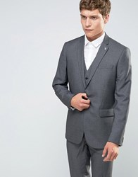 Farah Skinny Dogtooth Suit Jacket Grey
