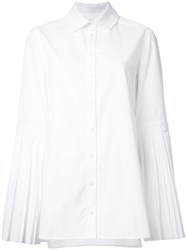 Monographie Pleated Sleeves Shirt White