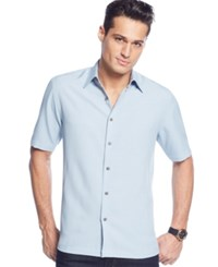 John Ashford Big And Tall Short Sleeve Textured Shirt Prussian Blue