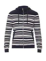 Orlebar Brown Caden Percy Striped Cotton Hooded Sweatshirt Navy