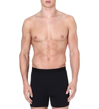 Sunspel Superfine Egyptian Cotton Two Button Boxer Shorts Black