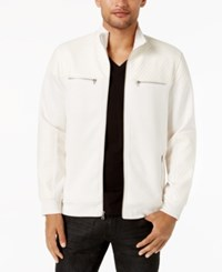 Inc International Concepts Men's Mixed Media Faux Fur Lined Bomber Jacket Created For Macy's Vintage White