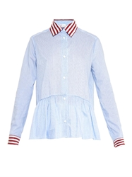 Red Valentino Frill Hem Contrast Striped Shirt