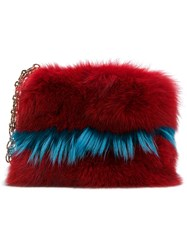 Mr And Mrs Italy Chain Detail Clutch Women Cotton Fox Fur Racoon Fur One Size Red