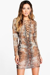 Boohoo Lace Up Front Bodycon Dress Multi