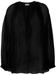 Sonia Rykiel V Neck Blouse Women Silk 40 Black