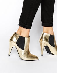 London Rebel Tidy Heeled Chelsea Boots Gold