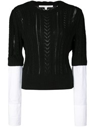 Veronica Beard Shirt Cuff Knitted Top Black