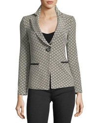Emporio Armani One Button Diamond Jacquard Knit Jacket Multi