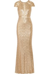 Badgley Mischka Sequined Tulle Gown Gold