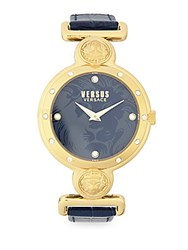 Versus By Versace Yellow Goldtone Stainless Steel Black Dial Leather Strap Watch