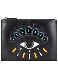 Kenzo Embellished Leather Pouch Black