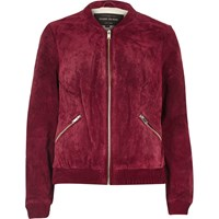 River Island Womens Burgundy Suede Bomber Jacket
